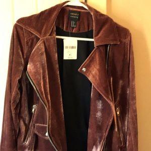 Pinkish rust velvet moto jacket